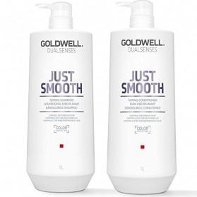 Zestaw Goldwell Just Smooth Shampoo 1000ml + Conditioner 1000ml